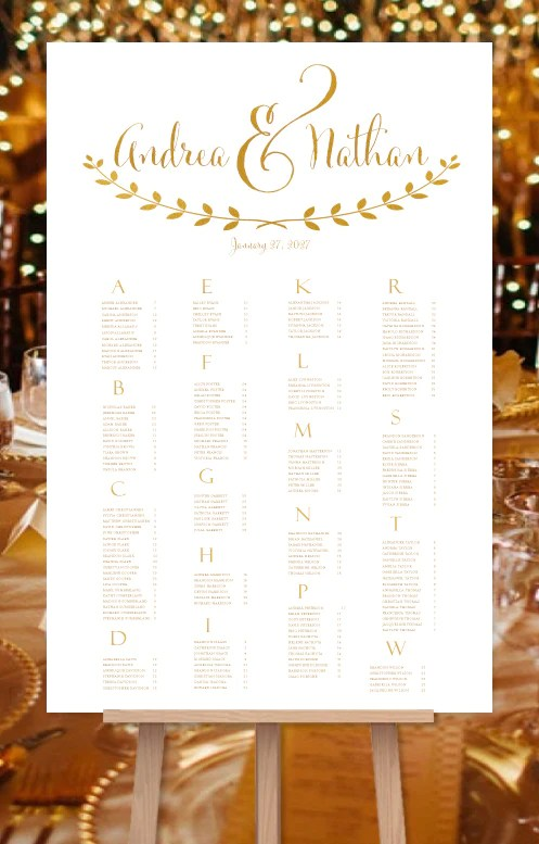 Wedding seating chart poster for reception in andrea gold also rh weddingtemplateshop