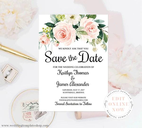 Blush Pink Bridal Shower Invitations