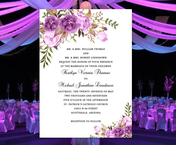 Bridal Shower Invitations Lavender
