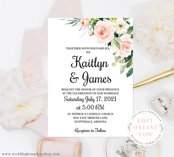 wedding invitation template blush