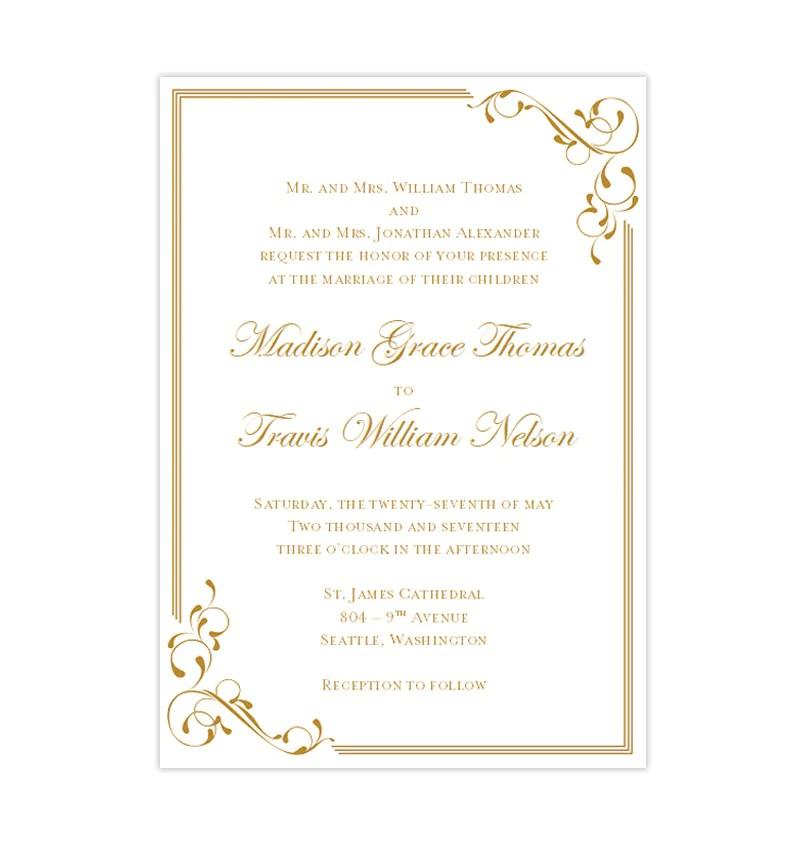 elegance wedding invitation gold