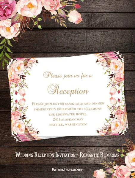 Wedding Reception Invitations Printable DIY Templates  Wedding Template Shop