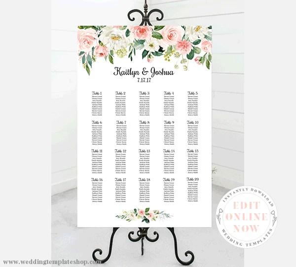 Wedding seating chart poster portrait  blush florals edit online also rh weddingtemplateshop
