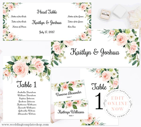 Wedding seating chart set table numbers place cards edit online now also rh weddingtemplateshop