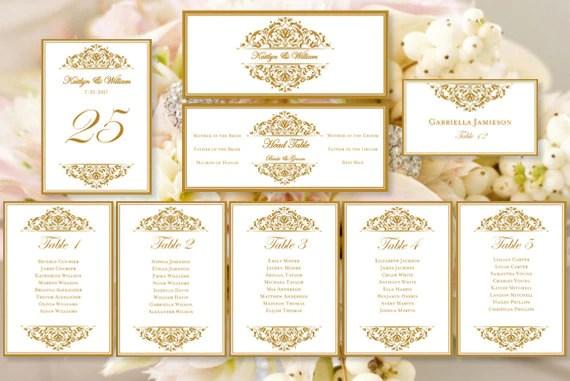 Wedding seating chart set grace gold also template shop rh weddingtemplateshop