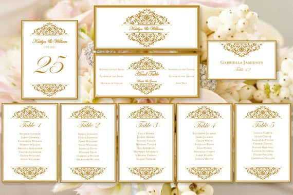 Wedding seating chart set grace gold also template shop rh weddingtemplateshop