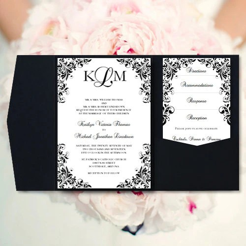 Make it match your wedding style and theme by adjusting colors and fonts. Pocket Fold Wedding Invitations Kaitlyn Black White 5x7 Wedding Template Shop