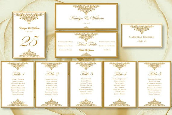 Wedding seating chart set anna maria gold also template shop rh weddingtemplateshop