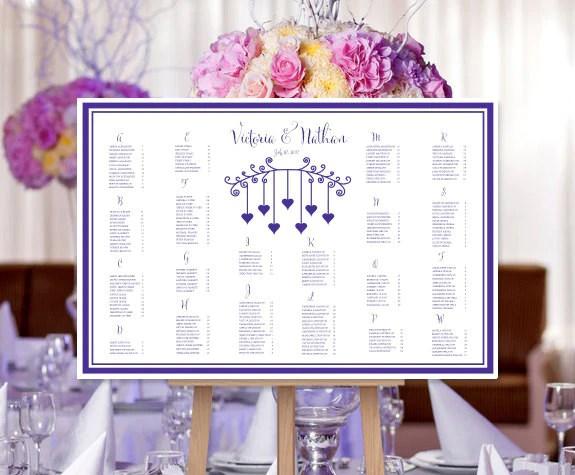Wedding seating chart poster hanging hearts regency purple also print rh weddingtemplateshop