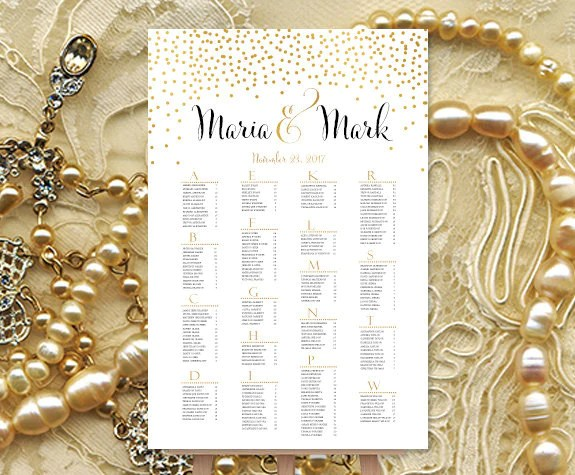 Wedding seating chart poster confetti gold print ready digital file also rh weddingtemplateshop