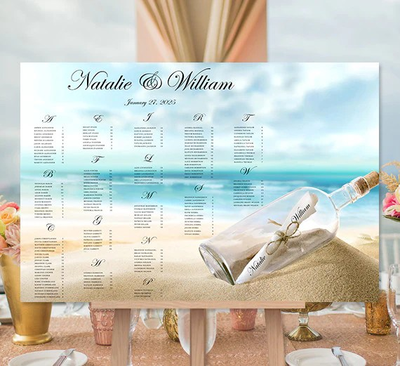 Wedding Seating Chart Poster Message in a Bottle Tropical Beach Print  Wedding Template Shop