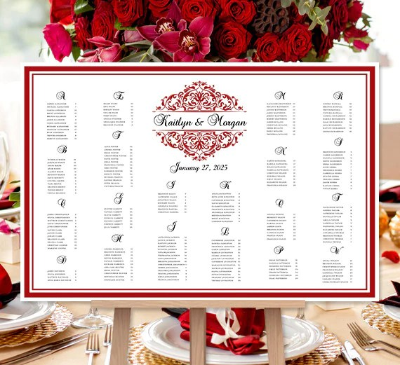 Wedding seating chart poster grace red black also print ready digital rh weddingtemplateshop