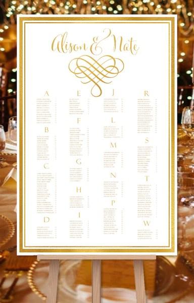 Wedding seating chart poster calligraphic heart gold also reception table plan rh weddingtemplateshop