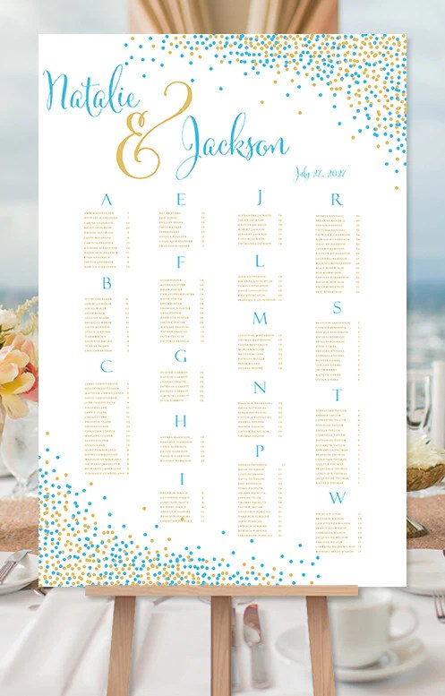 Wedding seating chart poster confetti malibu blue gold print ready digital file also rh weddingtemplateshop