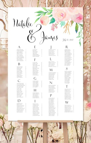 Wedding seating chart poster watercolor floral print ready digital file also reception table plan rh weddingtemplateshop