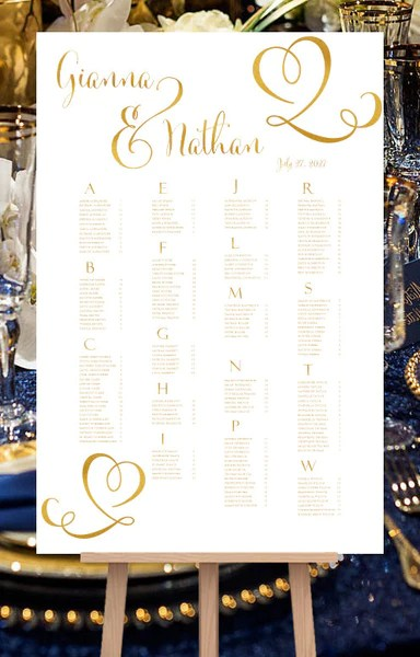 Wedding seating chart poster calligraphic heart gold print ready digit template shop also rh weddingtemplateshop
