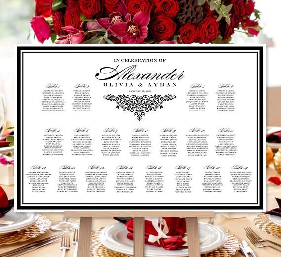 Wedding seating chart poster black white anna maria also print ready rh weddingtemplateshop