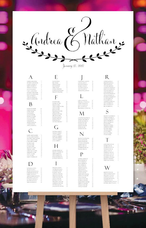 Wedding seating chart poster andrea black white print ready digital fi template shop also rh weddingtemplateshop