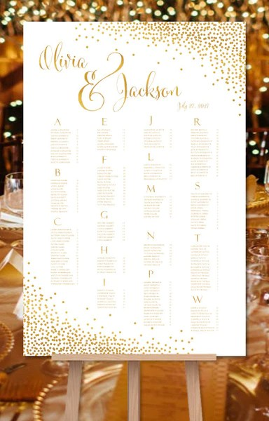 Wedding seating chart poster plan confetti gold also reception table tagged rh weddingtemplateshop