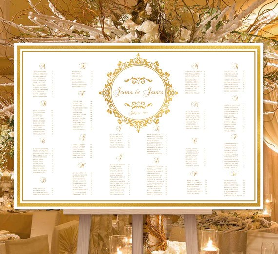 Wedding seating chart poster arabella gold also print ready digital file rh weddingtemplateshop