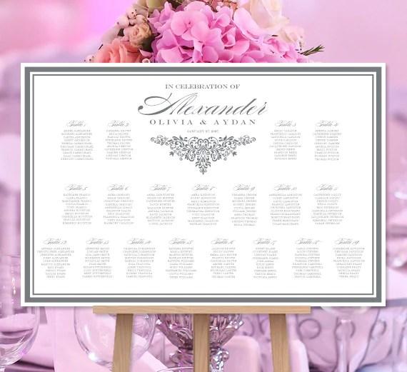 Wedding seating chart poster anna maria dark gray white print ready digital file also rh weddingtemplateshop