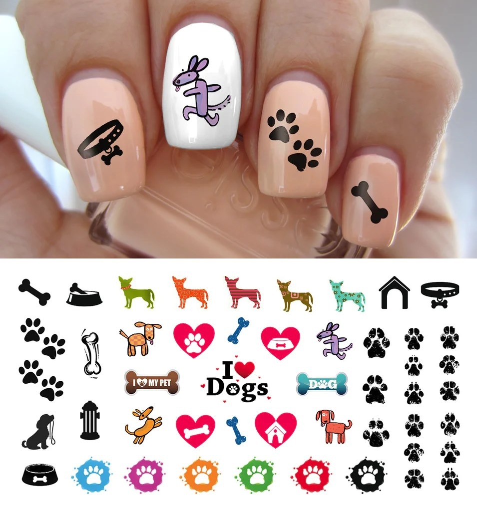 love dog paw prints nail decals