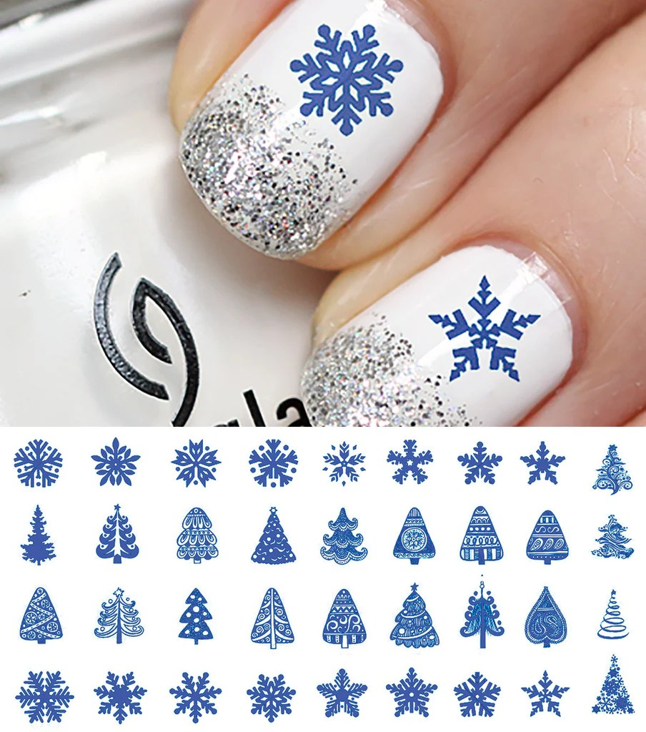 blue christmas nail art decals