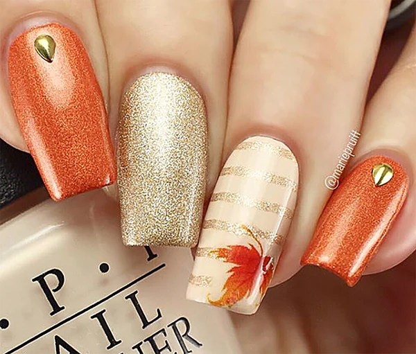 autumn fall leaves nail art decals