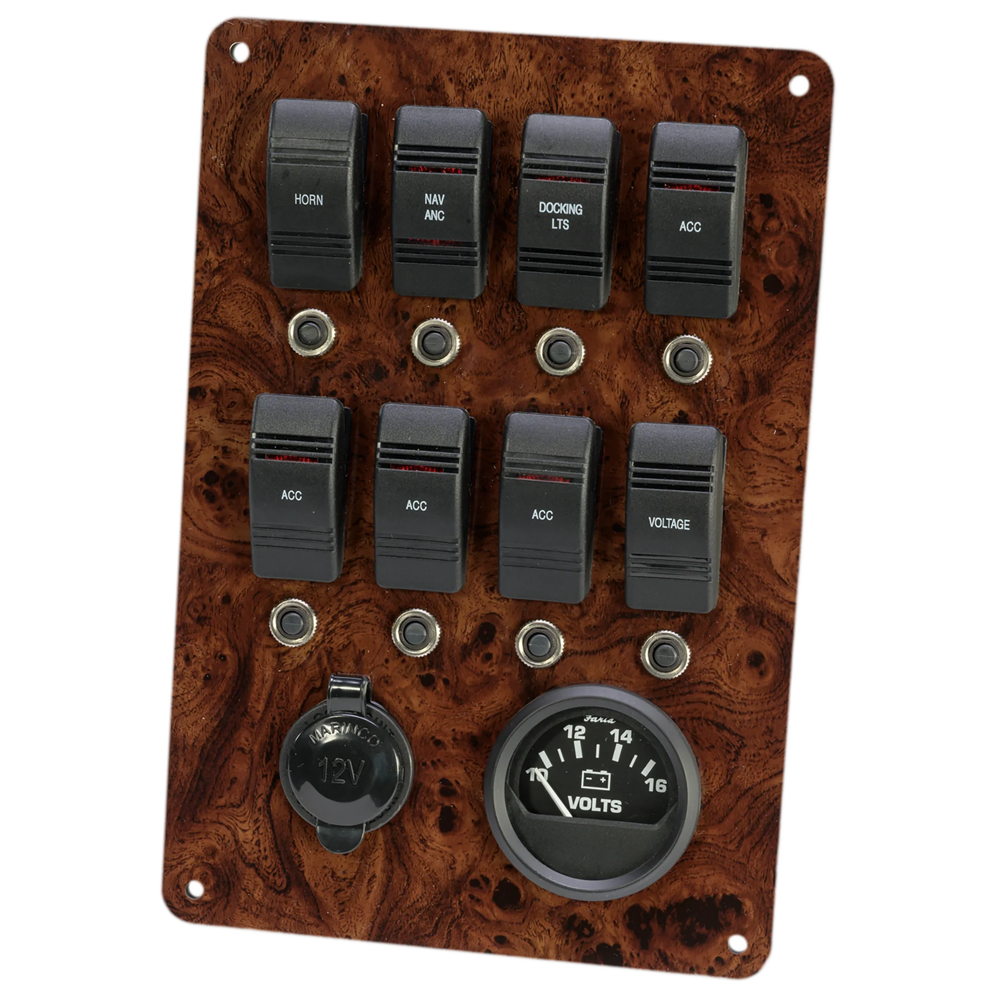 fully wired fused and loaded switch panel with 12 volt outlet and battery meter description plugs directly into our pontoon boat wiring harness  [ 2048 x 2048 Pixel ]