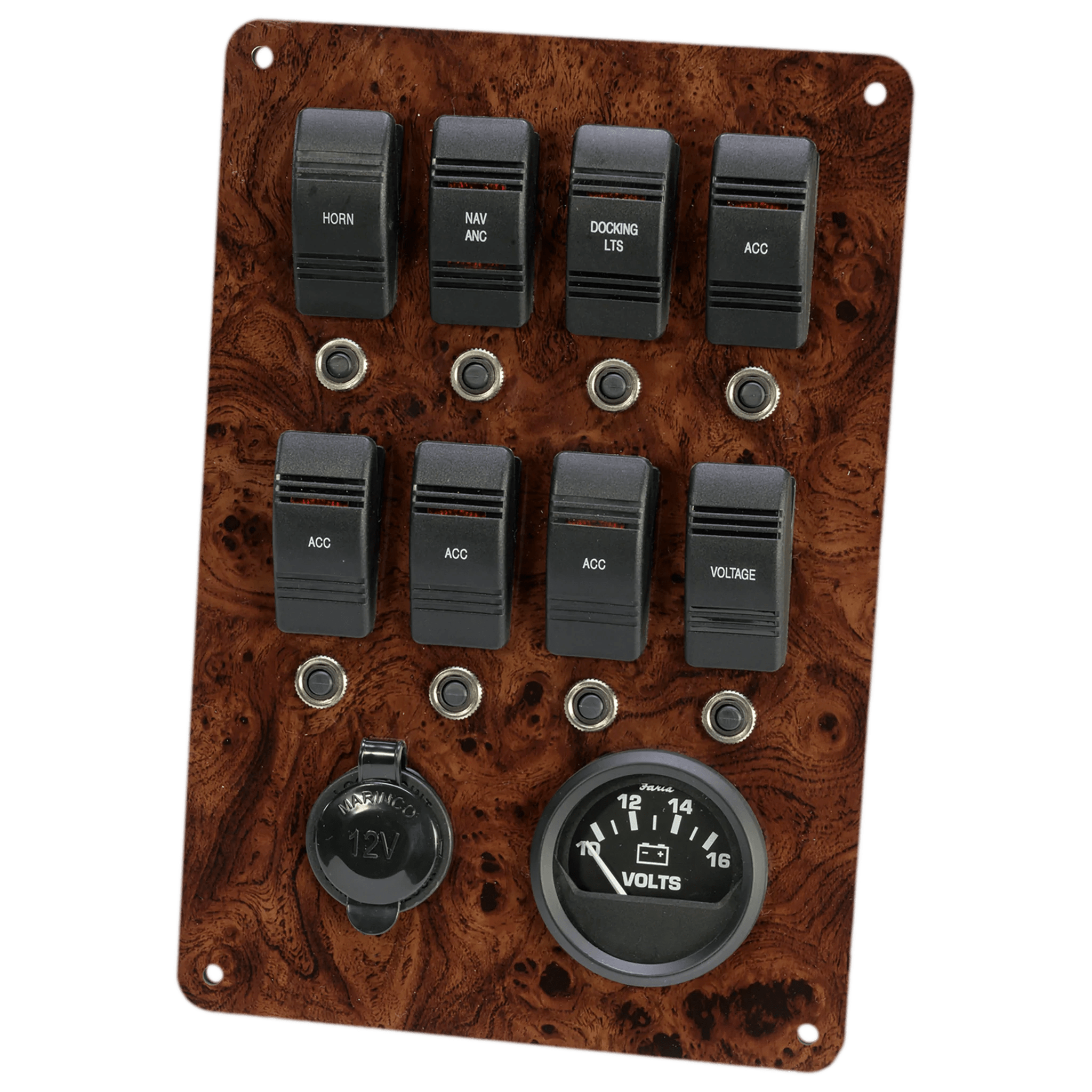 medium resolution of fully wired fused and loaded switch panel with 12 volt outlet and battery meter description plugs directly into our pontoon boat wiring harness