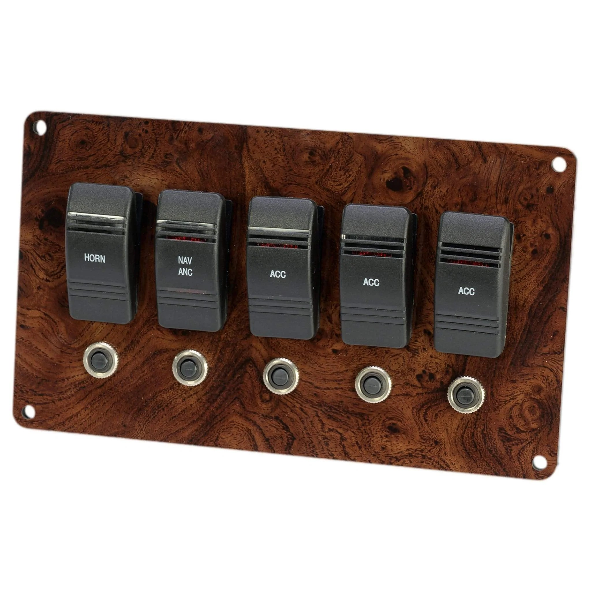hight resolution of burl wood small pontoon boat switch panel
