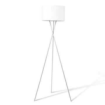 IDMarket - Lampadaire trépied métal chromé Abat-Jour Blanc
