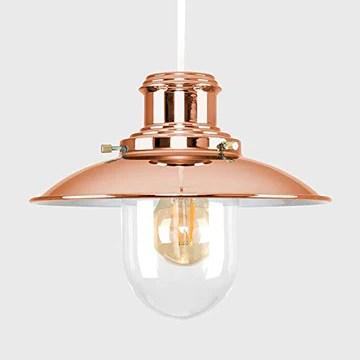 OMEE Et Métal Cuivre Poli Moderne en Verre du pêcheur Style Vintage Lanterne Easy Fit Plafond Lamp