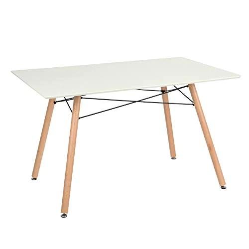 Furniture-R France Maddie Table à manger rectangulaire, pour 2 à 4 personnes, design scandinave, pieds en bois de hêtre massif laqué, , 110 x 70 x 74 cm