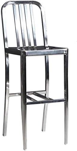 Tabouret de bar en acier inoxydable Tabouret de bar Dossier Tabouret de bar en fer forgé Tabouret de bar Chaise haute Chaise de réception Tabouret haut Leisure Bar Chaise Tabouret de chambre à coucher (Taille: 38 * 44 * 110CM)