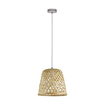 Eglo Suspension Kirkcolm 1 lampe suspendue Vintage Naturel Boho Hygge Suspension en Acier Corbeille Bois Tressé Naturel Lampe de Table de Salon Suspension avec Culot E27