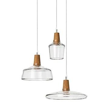Suspension moderne lustre en verre clair avec lampe de décoration en bois 1 lampe de suspension for la salle à manger chambre salon cuisine îlot (Size : D)