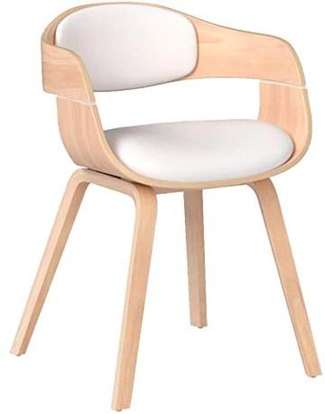CLP Chaise Retro Kingston Similicuir - Chaise de Salle à Manger avec Accoudoirs Design Scandinave - Siège et Dossier Rembourrés -Couleur: Nature/Blanc