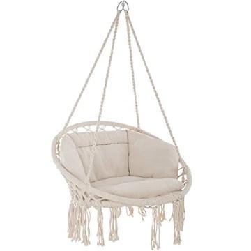 TecTake 800708 Fauteuil Suspendu Relax Design de Jardin en Coton, 1 Place, Intérieur et extérieur, Coussins Confortables Inclus - Couleur au Choix - (Beige | no. 403205)