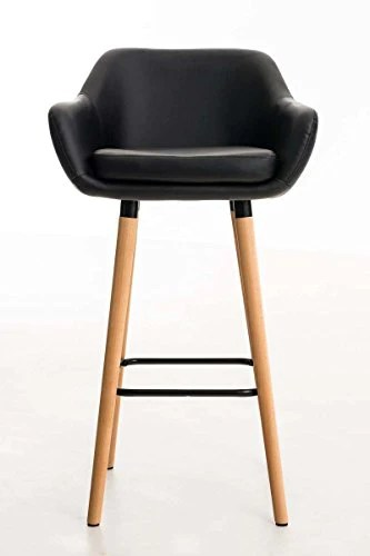 CLP Tabouret de Bar Grant Similicuir - Chaise Haute de Bar Confortable Design Scandinave - Tabouret de Bar Industriel avec Dossier et Accoudoir - Couleur: Noir