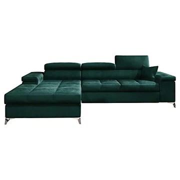 Selsey MIKKARA - Canapé d'Angle Convertible - 280 cm - Vert Bouteille - en Velours - côté Gauche - Style Moderne