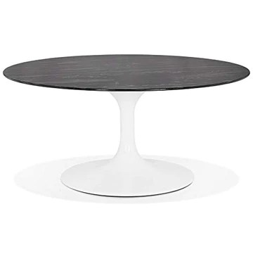 Alterego Table Basse de Salon Ronde 'GOST Mini' en Verre Noir Effet marbre et Pied Central Blanc