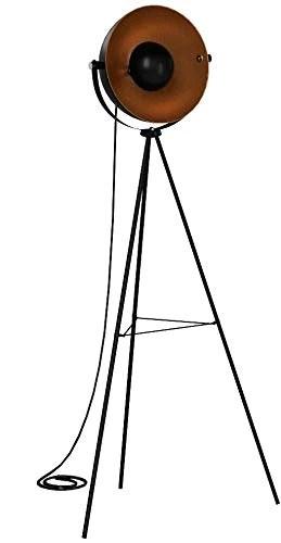 Briloner Leuchten 1380-015 Lampadaire trépied vintage - style projecteur de cinéma - abat-jour métal noir mat & or - douille E27 - 60 W max. - hauteur : 160 cm