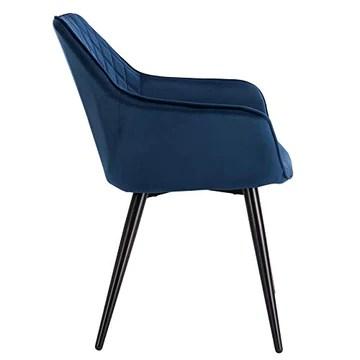 WOLTU BH153bl-1,1 Chaise de Salle à Manger Moderne Chaise de Cuisine en Velours et métal,Bleu