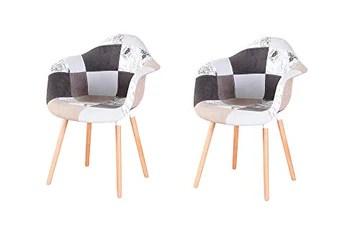 N/A lot de Deux fauteuils patchwork en tissu de lin pour loisirs salon coin fauteuils de réception avec dossier et pieds en bois naturel , Lin Polypropylène, gris, 82*42*48