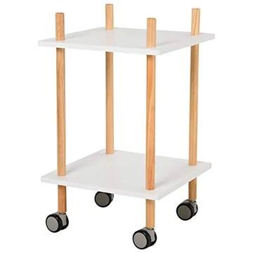 Chariot de service desserte de cuisine à roulettes design scandinave 2 étagères bois de pin MDF blanc