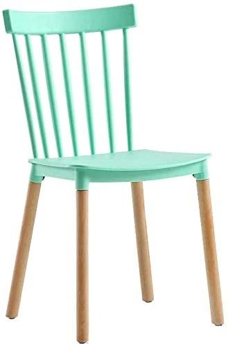 FHW Chaise de salle à manger plastiques (2ps), Tea Shop/Lazy/Bureau/Salle de réunion, Chaise en bois massif chaise (Color : Green, Size : 43x54x80CM)