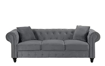 BHDesign Mila - Canapé Chesterfield 3 Places - Velours - Coloris Gris