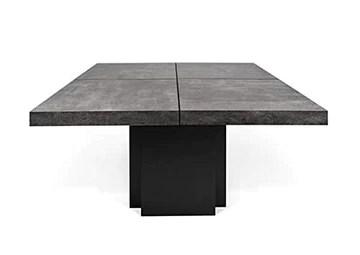 Dusk, Table carrée, en 130 ou 150 cm, Presque Une Sculpture ! - Designer : DÉLIO Vicente - 130 x 130 x 75 cm - Aspect béton Mat, Lisse au Toucher, piétement laqué Noir Mat