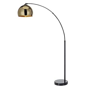 Lampadaire Arquer Arc Lampe De Sol Abat-jour Doré Pied Marbre Noir VN-L00012-EU
